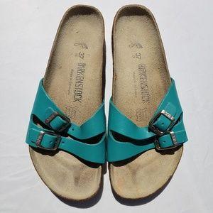 Birkenstock Sandals Sz 37 Buckle Slip On Aqua Teal